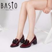 BASTO 百思图 女士漆牛皮尖头蝴蝶结粗高跟鞋 TXD25AQ7