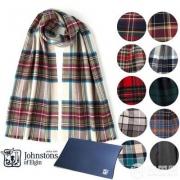 苏格兰百年奢侈羊绒品牌,Johnstons of Elgin 美利奴羊毛格纹围巾WD446 多色
