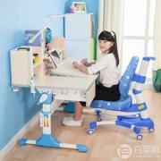 心家宜 加大桌面 手摇机械升降儿童学习桌椅套装M102+M200 送读书架 两色