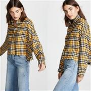 BLACKPINK成员LISA同款: R13 Cropped Work Shirt 格纹衬衫