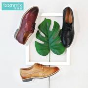 Teenmix 天美意  女士牛皮复古布洛克牛津鞋 6RY35CM6 三色