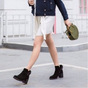 Teenmix 天美意 女士羊绒皮貂毛粗跟短靴 CBG41DD7 两色