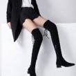 考拉工厂店 羊反绒方头粗跟女式弹力过膝靴538.2元包邮(需用券)