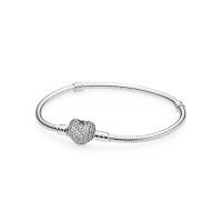 Pandora   Moments 590727CZ 925银密镶心形扣基础链蛇骨手链
