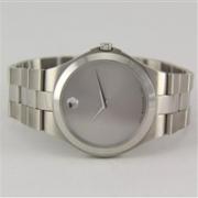 Movado 摩凡陀 Collection 系列 全银色圆形表盘男士时尚腕表 0606556