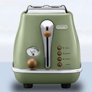 De'Longhi 德龙 Icona Vintage 复古早餐系列 CTO2003.VGR 多士炉 2片式 橄榄绿色 900W