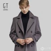 中国飞行员协会战略合作品牌,GT 萨缇尼 男士100%羊毛双排扣呢大衣 3色499元包邮(需领券)
