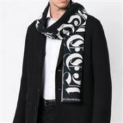 Alexander McQueen 亚历山大·麦昆 男士Logo嵌花纯羊毛围巾