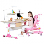 SINGAYE 心家宜 手摇机械同步升降儿童学习桌椅套装 桌长120*70cm M131R+M200R+M633R公主粉 1599.2元包邮