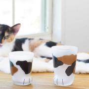 Aderia 石塚硝子 Coconeco创意磨砂牛奶玻璃杯猫爪杯 230ml