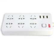 ABB AF205 六位五孔插线板 USB3A输出 1.8m 50.88元包邮(90.88-40)