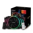 PCCOOLER 超频三 皓月 FRGB 机箱风扇(5X套装、兼容3厂主板RGB灯效、遥控)299元包邮