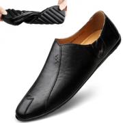 2019夏季豆豆鞋男青年软底黑色皮鞋男休闲软皮个性韩版驾车潮鞋子 49元¥49