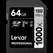 Lexar 雷克沙 Professional 1000x SDXC UHS-II U3 SD存储卡 64GB 169元包邮(需用券)