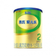 惠氏 S-26 金装2段 爱儿乐较大婴儿配方奶粉 400克 59元