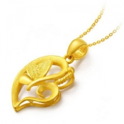 CHOW TAI FOOK 周大福 F151985 婚嫁心形蝴蝶黄金项链 3.3g*2件 2005.2元包邮