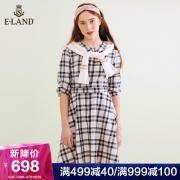 ELAND2019新款ins法式桔梗裙收腰瘦短袖中长款连衣裙夏EEOW923C2C 658元¥658