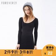 Forever21女装长袖连衣裙时尚气质修身型纯色低领长袖连衣裙女 22元¥27
