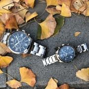 Fossil礼盒装情侣男女对表钢表带大表盘复古风欧美石英手表BQ2146 1599元