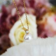 Akoya 18K金 8.5-9mm D0.04ct 钻石珍珠项链 1199元包邮包税