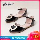 REEMOOR大码包头淑女凉鞋一字扣带尖头平底浅口单鞋睿慕 134元¥134