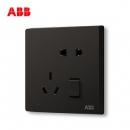 ABB开关插座无框轩致星空黑墙壁开关面板一开五孔插座AF225-885 *5件143.5元(