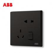ABB开关插座无框轩致星空黑墙壁开关面板一开五孔插座AF225-885 *5件