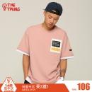 THETHING设计潮牌夏装假两件短袖t恤印花文艺粉色TEE字母体恤 103元¥103