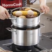 Momscook MT22ST 不锈钢蒸锅 22cm/4L198元,可优惠至118.6元