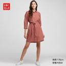 优衣库UNIQLO 麻混纺衬衫式女装连衣裙(七分袖) 新品上市249¥249