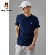 HushPuppies暇步士男装夏新款舒适纯棉圆领开襟短袖T恤|PD-27342D