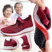 春夏季镂空网鞋透气妈妈鞋软底舒适中老年健步鞋老人运动旅游凉鞋
