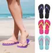 巴西原产 Dupe 撞色鞋带 女天然橡胶人字拖 49元包邮 平常89元
