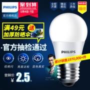 飞利浦(PHILIPS) LED灯泡 E27 2.8W  券后1.5元