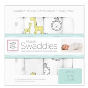 SwaddleDesigns Muslin细棉 婴儿包巾/抱毯 4条装 Prime会员免费直邮