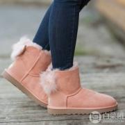 UGG Fluff Bow Mini系列 女士毛绒蝴蝶结雪地靴 3.3折 $55.89