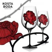低于黑五!瑞典皇室御用品牌,Orrefors Kosta Boda Tatto烙印系列 彩绘玫瑰花水晶玻璃红酒杯*2个 Prime会员免费直邮含税到手338元