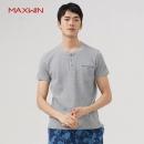 优衣库制造商,Maxwin 马威 男士素色亨利领纯棉短袖T恤 3色29元包邮(需领券)