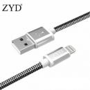 ZYD MFi认证苹果数据线 黑白纹编织 1米  24.9元包邮24.9元包邮