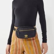 Adidas 阿迪达斯 ORIGINALS 三叶草 PU 皮腰包( 黑色/金色) Prime会员凑单免费直邮含税