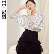 2019夏季新款,EST+II 艺诗 韩版OL条纹女式衬衫89元包邮(需领券)