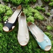 四十年专业妈妈鞋品牌 MUSBEME 玛思贝蜜 真皮坡跟鱼嘴凉鞋 3色