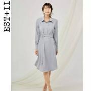 EST+II 艺诗 2019春夏新款翻领长袖纯色简约淑女裙 2色