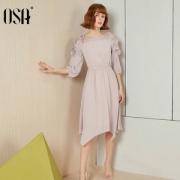 OSA 欧莎 系带收腰连衣裙