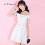 La Chapelle 拉夏贝尔Candie's 一字领露背镂空连衣裙