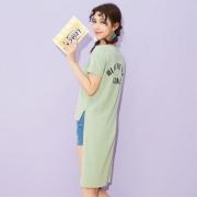 美特斯邦威 女士短袖开叉长T恤