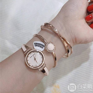 Anne Klein 安妮·克莱恩 AK/3292BKST 施华洛世奇水晶 女士手镯手表套装