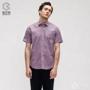 CK制造商,鲁泰佰杰斯 纯棉潮流休闲格子短袖衬衫