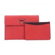 BURBERRY博柏利40766571女款亮红色皮质D型环手拿包