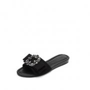 WHAT FOR夏季新款莱茵石露趾平底鞋ins低跟拖鞋女外穿拖鞋凉鞋748.5元